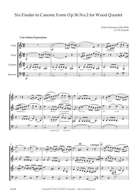 Six Etudes in Canonic Form Op.56 No.2 for Wood Quartet