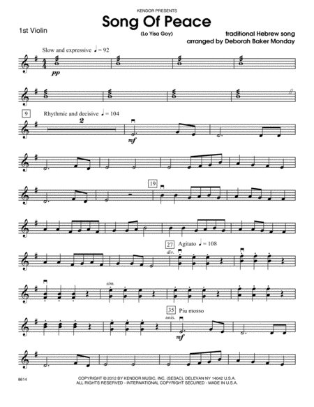 Song Of Peace (Lo Yisa Goy) - 1st Violin