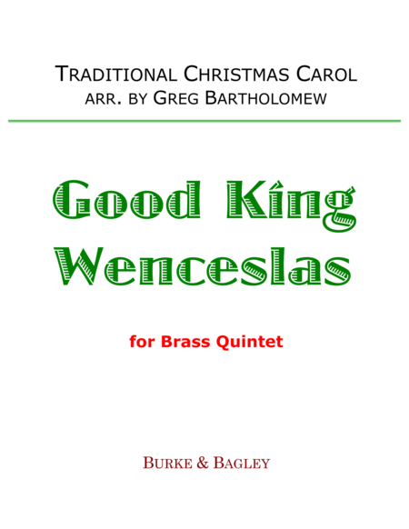 Good King Wenceslas for brass quintet