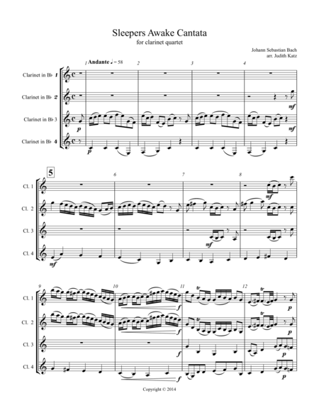 Sleepers Awake Cantata - for clarinet quartet