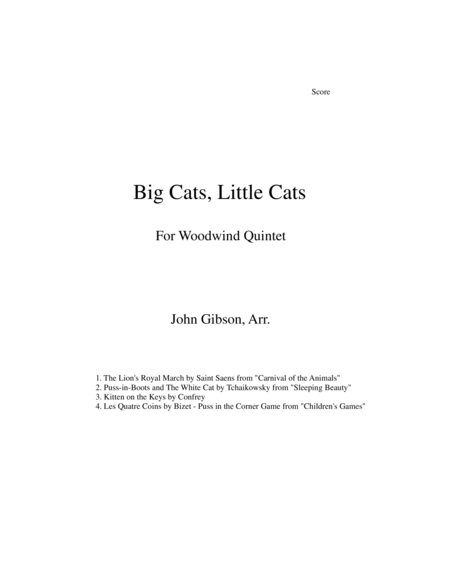 Big Cats, Little Cats - Cat Music for Woodwind Quintet