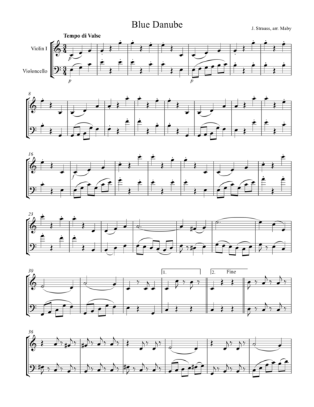 2 Strauss Waltzes for Violin & Cello Duet