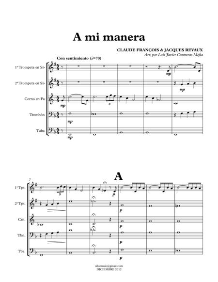 My way (A mi manera). Brass Quintet. Score & Parts