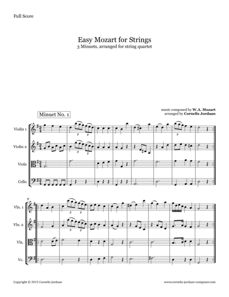 Easy Mozart for Strings - 3 Minuets, arranged for string quartet