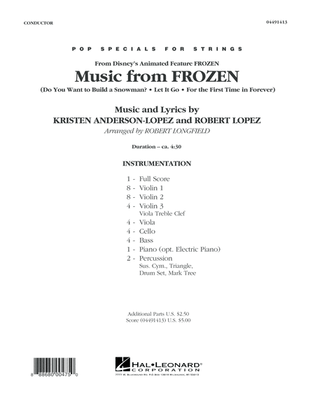 Music from Frozen - Conductor Score (Full Score)