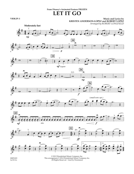 Violin violin chords of let it go : Let It Go - Violin 1
