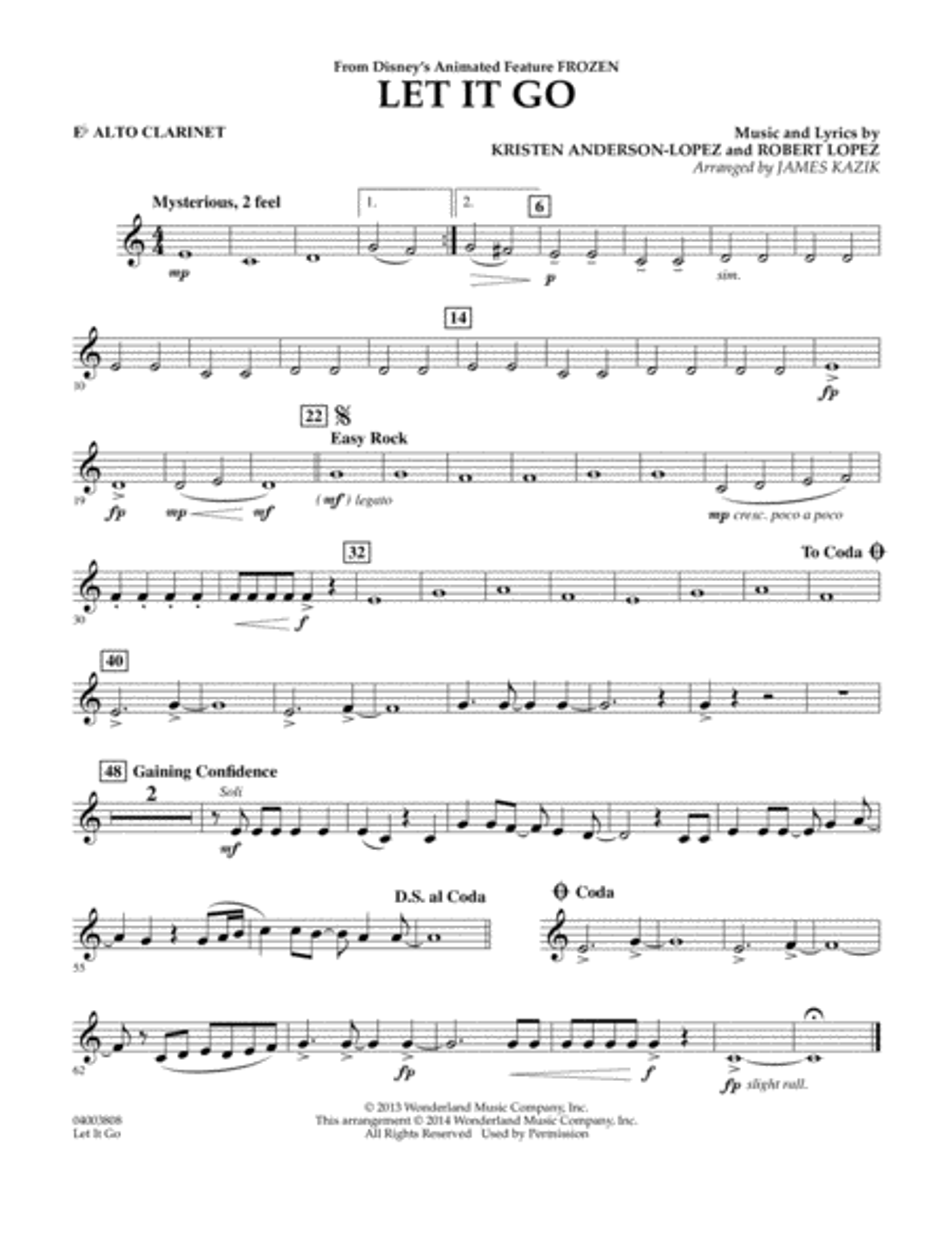 Let It Go - Eb Alto Clarinet