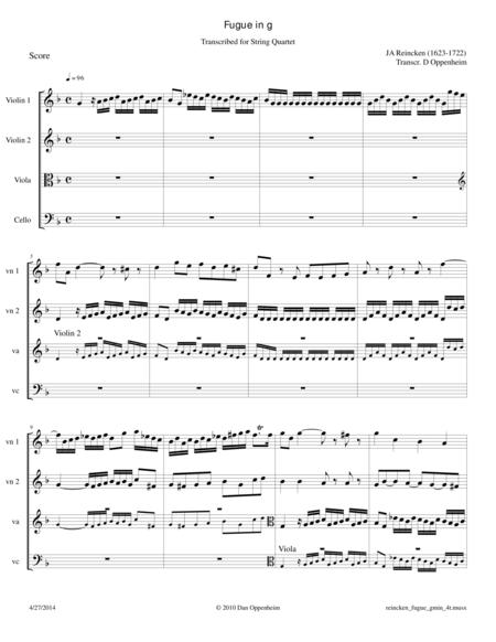 Reincken: Fugue in g Transcribed for String Quartet