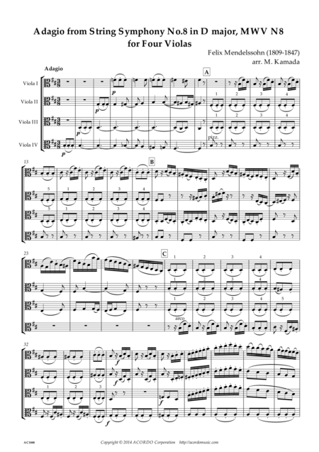 Adagio from String Symphony No.8 in D major, MWV N8 for Four Violas