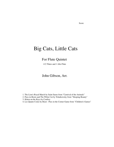 Big Cats, Little Cats - Cat Music for Five Flutes