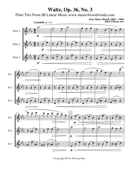 Waltz by Amy Beach set for Flute Trio
