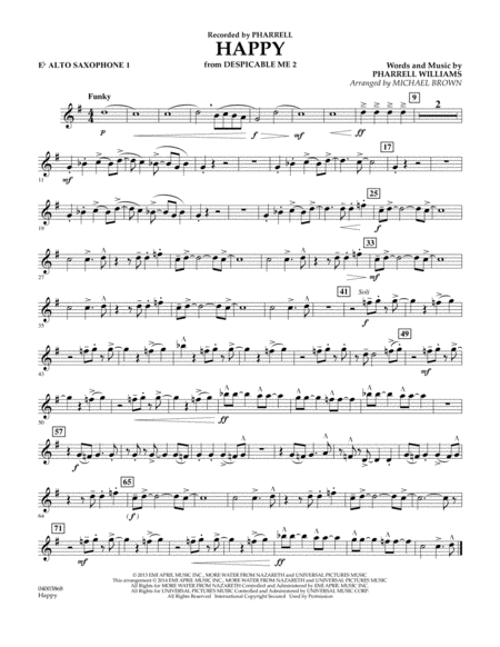 Happy (from Despicable Me 2) - Eb Alto Saxophone 1