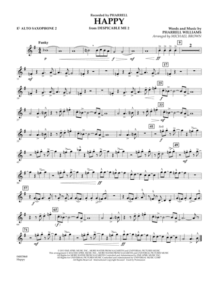 Happy (from Despicable Me 2) - Eb Alto Saxophone 2