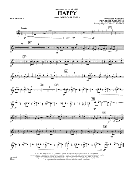 Happy (from Despicable Me 2) - Bb Trumpet 2
