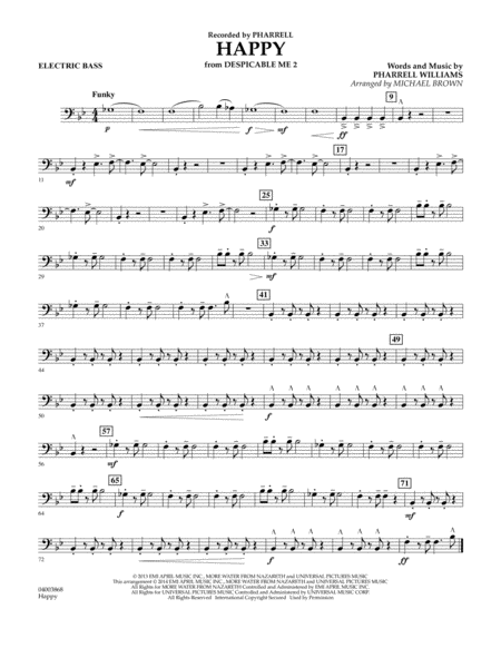 Happy (from Despicable Me 2) - Electric Bass