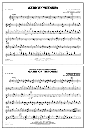 Game of Thrones - Eb Alto Sax