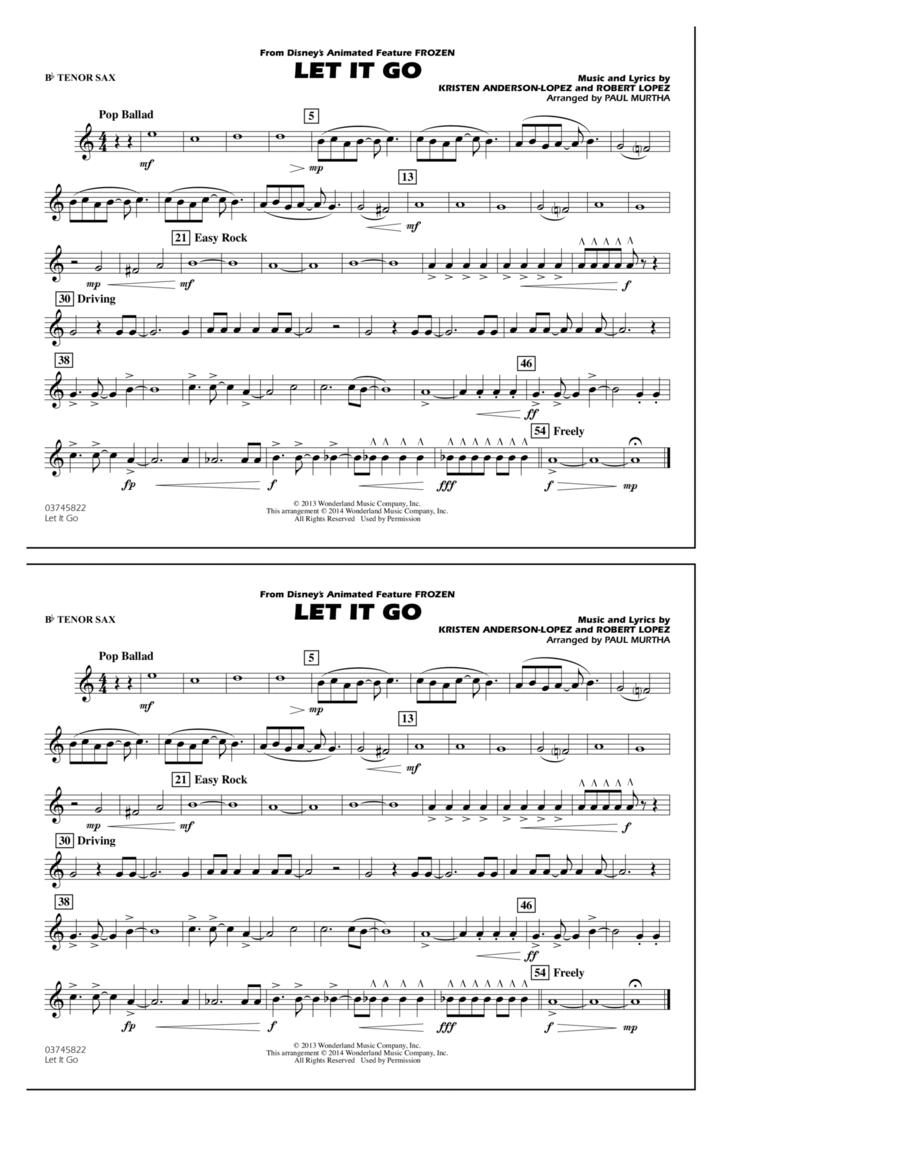 Let It Go - Bb Tenor Sax