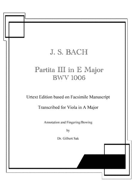 Partita in E Major, BWV 1006 transcribed for Viola in A Major