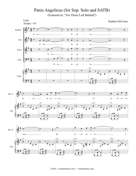 Panis Angelicus (for Soprano Solo and SATB Choir)