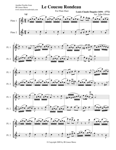 Le Coucou Rondeau (The Cuckoo Rondo) for Woodwind Duets
