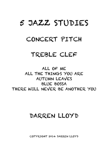 5 Intermediate jazz studies for concert pitch instruments
