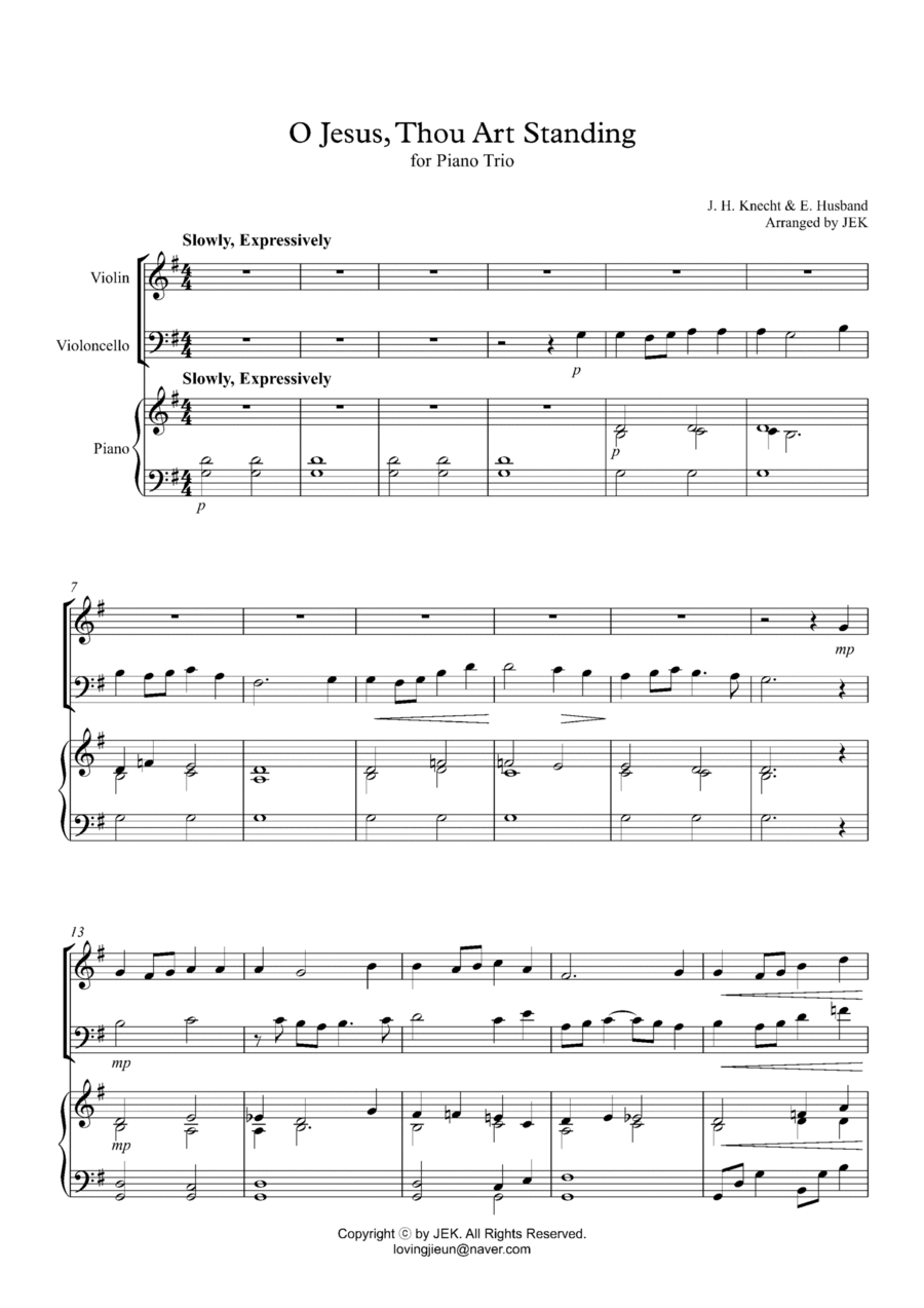 HYMN FOR PIANO TRIO - O Jesus, Thou Art Standing