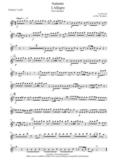 Vivaldi: The Four Seasons: Autumn (Mvt 1 Allegro)(abridged) - clarinet trio