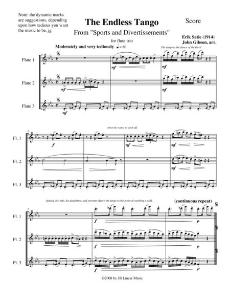 The Endless Tango by Erik Satie set for flute trio