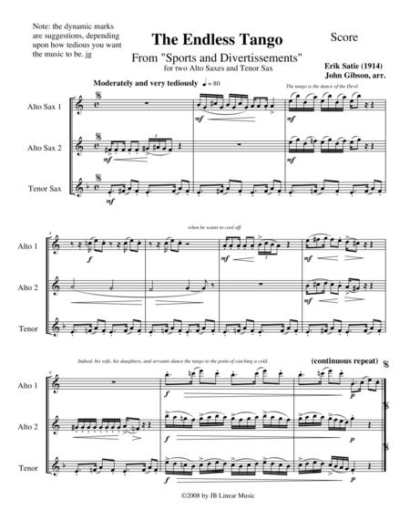 The Endless Tango by Erik Satie set for sax trio