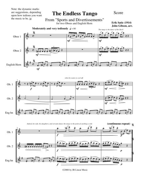 The Endless Tango by Erik Satie set for oboe trio