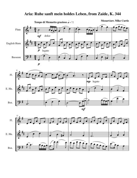 Mozart aria: Ruhe sanft mein holdes Leben for Flute, Clarinet, & Bassoon