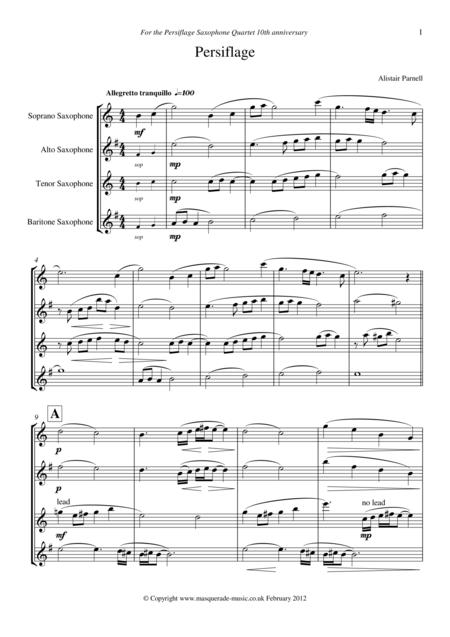 Persiflage ('light banter') SATB Saxophone Quartet
