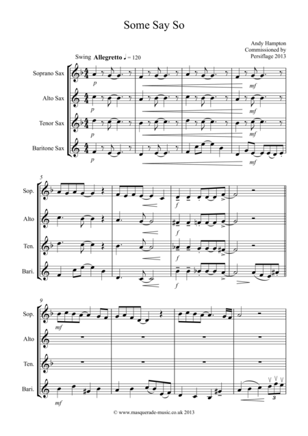 Some Say So (SATB Saxophone Quartet)