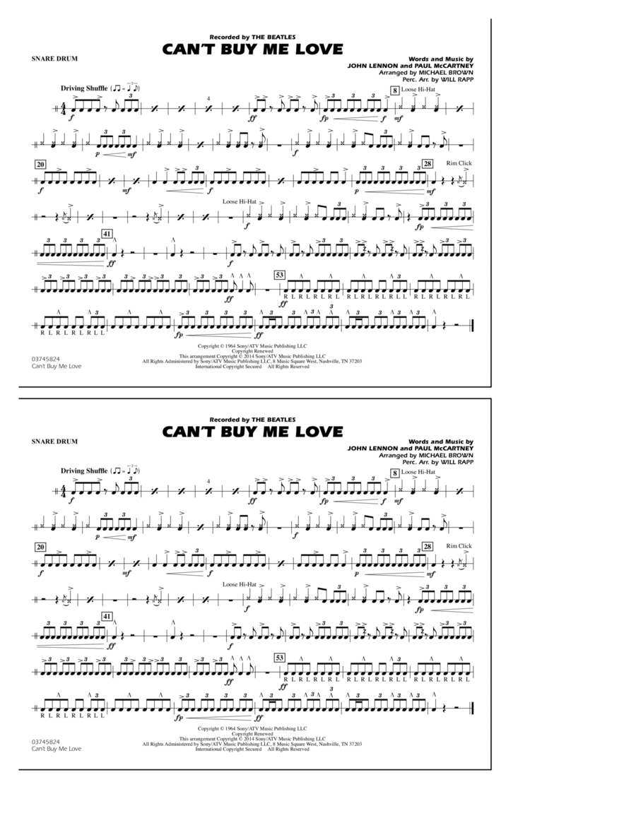 Can't Buy Me Love - Snare Drum