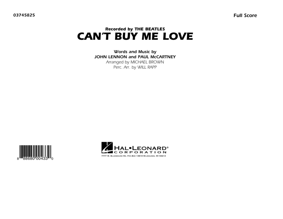 Can't Buy Me Love - Conductor Score (Full Score)