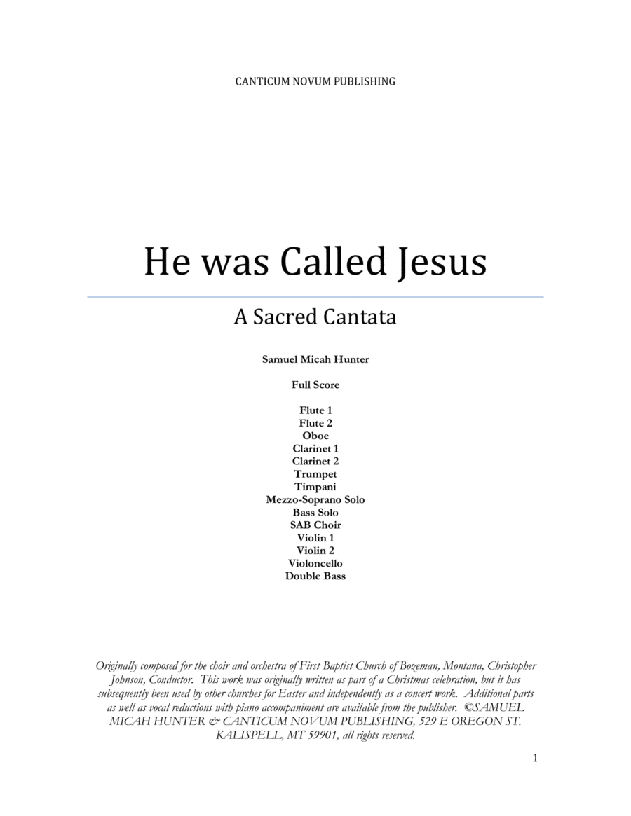 He was Called Jesus, A Sacred Cantata, Full Score