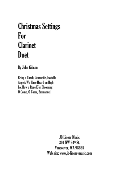 Christmas Settings for Clarinet Duet