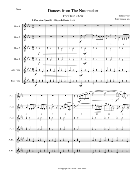 Six Dances from The Nutcracker by Tchaikowsky for Flute Choir