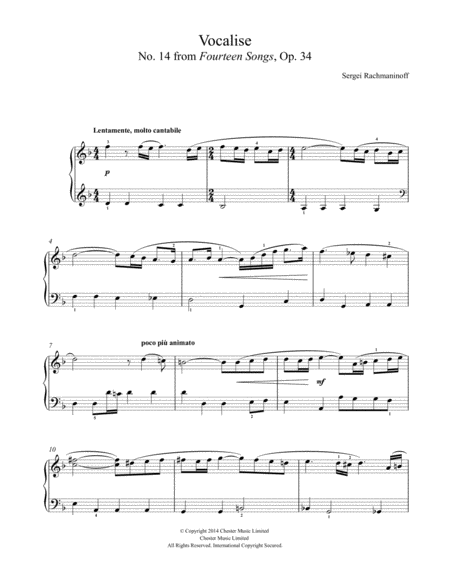 Vocalise (No. 14 from Fourteen Songs, Op. 34)