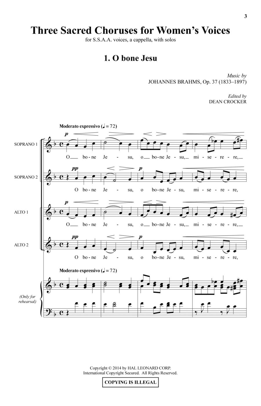 Three Sacred Choruses For Women's Voices
