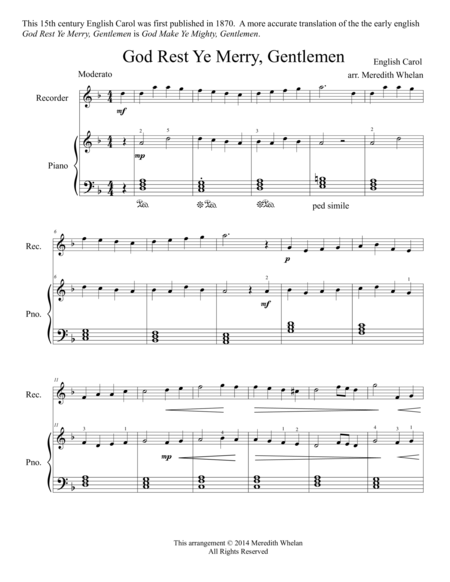 Christmas Duets for Recorder & Piano:  God Rest Ye Merry, Gentlemen