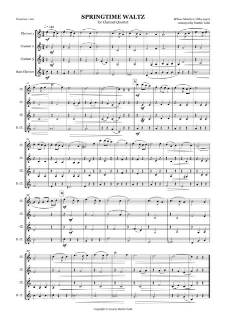 Springtime Waltz for Clarinet Quartet