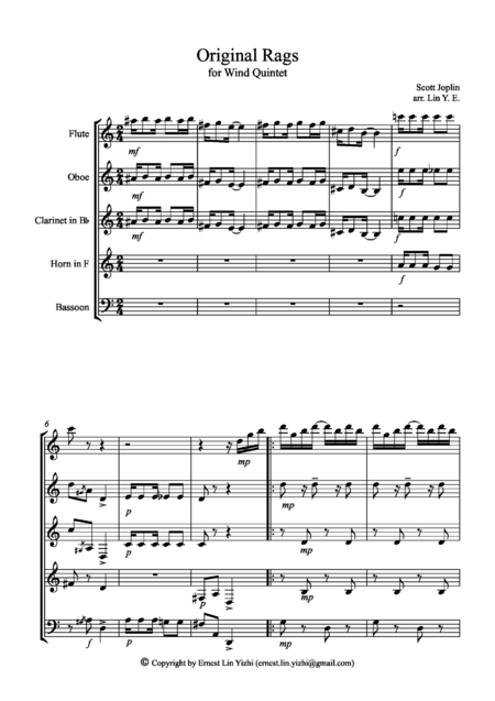 Original Rags (Scott Joplin) for Wind Quintet