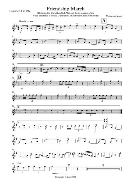 Friendship March (Clarinet 1 Part)
