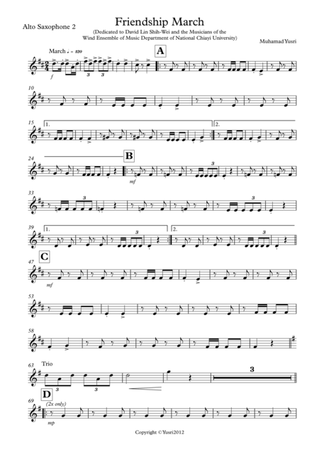 Friendship March (Alto Saxophone 2 Part)
