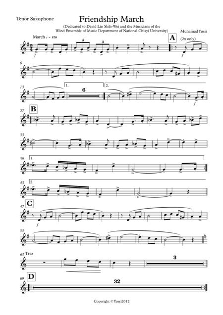 Friendship March (Tenor Saxophone Part)