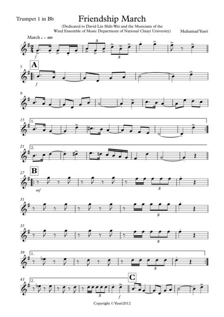 Friendship March (Trumpet 1 Part)