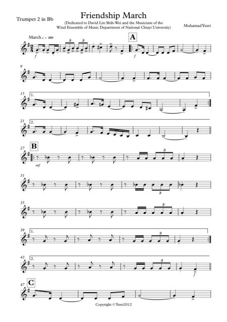 Friendship March (Trumpet 2 Part)