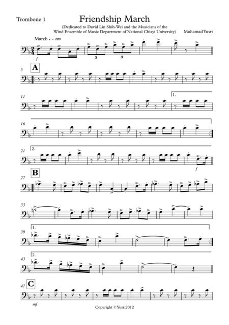 Friendship March (Trombone 1 Part)