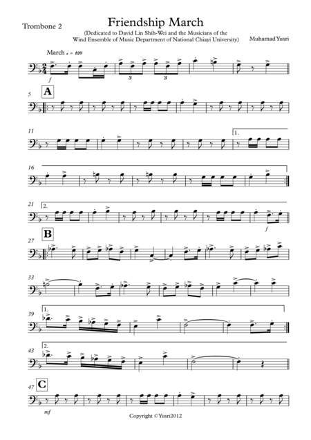 Friendship March (Trombone 2 Part)